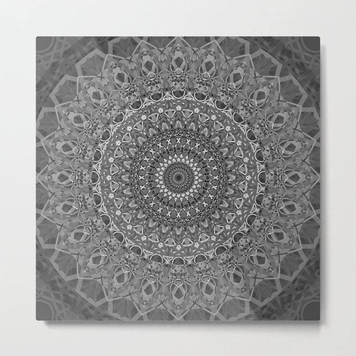 MANDALA EYE OF POWER BLACK WHITE GRAY Metal Print