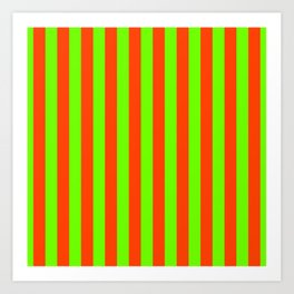 Super Bright Neon Orange and Green Vertical Beach Hut Stripes Art Print
