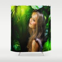 amy hamilton Shower Curtains featuring Amy by Robin Curtiss
