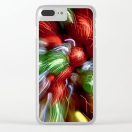 Abstract Red & Green Motion Blur Clear iPhone Case