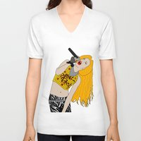 hedwig V-neck T-shirts featuring Hedwig Singing by byebyesally