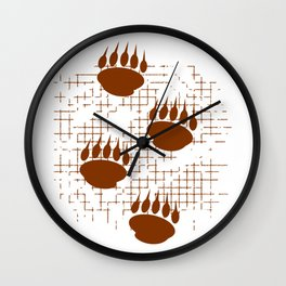 Bear Cub Paw Prints On Distressed Background Wall Clock