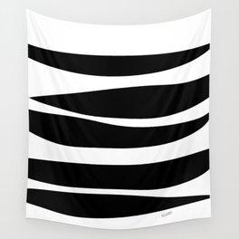 Irregular Stripes Black White Waves Art Design Wall Tapestry