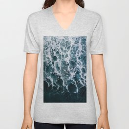 Minimalistic Veins in a Wave  - Seascape Photography Unisex V-Neck