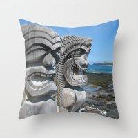 tiki Throw Pillows featuring Tiki by courtney2k ⚓ design™
