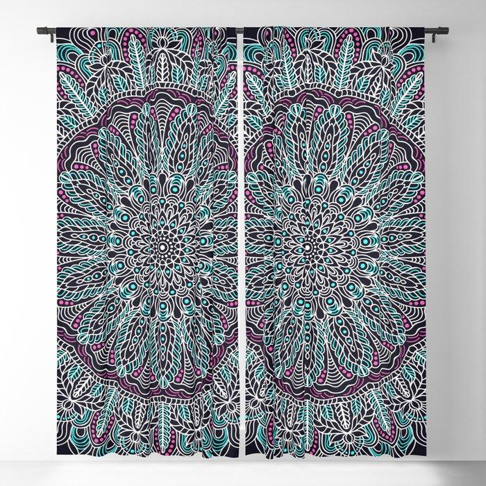 Mandala white pink and cyan lace Blackout Curtain