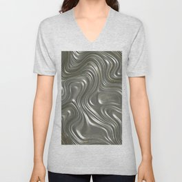 Modern abstract metal geometrical lines pattern Unisex V-Neck