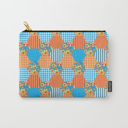 Ditsy Floral, Stripes, Polka Dots, Check Gingham Patchwork Pattern Carry-All Pouch
