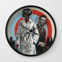 superheroes Wall Clocks featuring Superheroes SF by Troy DeRose