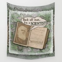 "darwin Wall Tapestries featuring Charles Darwin: ""Back off man, I'm a SCIENTIST!"" by ImpART by Torg"