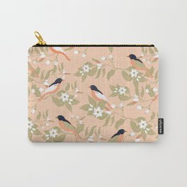 Birds on the blossoming orange trees, peach color background, vintage illustration Carry-All Pouch