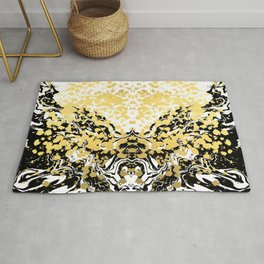 Sukie - abstract gold black and white foil glitter shiny sparkle hipster painting free spirit cosmic Rug