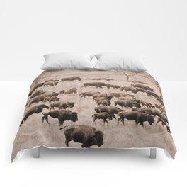 Buffalo Herd in Sepia Comforters