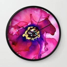 Fuchsia Tree Peony Watercolour Wall Clock