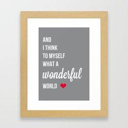 Wonderful world typogrphy Framed Art Print