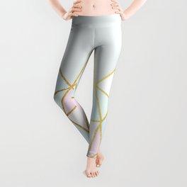 Gold & Pastel Geometric Pattern Leggings