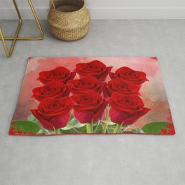 Forever My Love - Red Roses With Hearts Rug