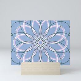 Purple Retro Geometric Flower with yellow lines - c13271.10 Mini Art Print