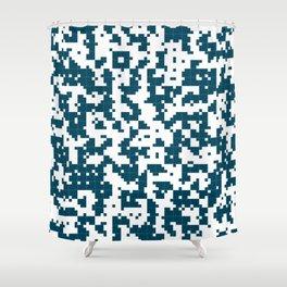 Small Pixel Big Pixel - Geometric Pattern in Dark Blue Shower Curtain