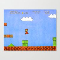 mario bros Canvas Prints featuring Super Mario Bros. by Theodore Parks