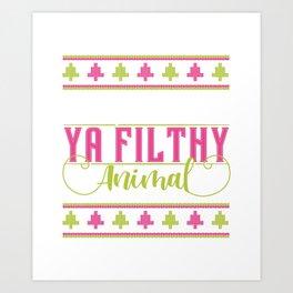 Merry Christmas Ya Filthy Animal Ugly Christmas PAttern Art Print