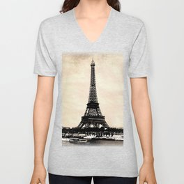 VINTAGE EIFFEL TOWER IN SEPIA Unisex V-Neck
