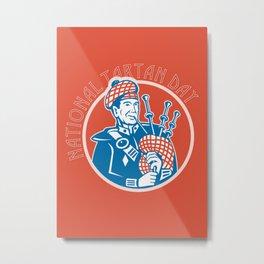National Tartan Day Bagpiper Retro Greeting Card Metal Print
