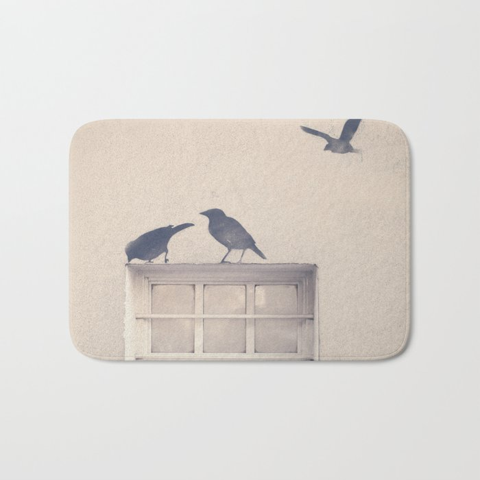 Let me be a bird in your window - vintage retro, beige cream, urban, black and white photography Bath Mat