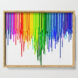 Rainbow Paint Drops on White Serving Tray