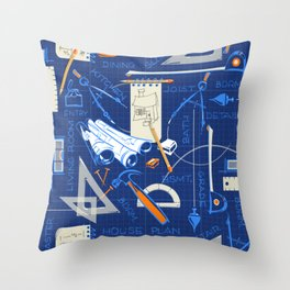 Architects + Builders Tools Pattern   Blue Throw Pillow