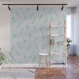 Watercolor painting seamless pattern with flowers and palm leaves. Wall Mural