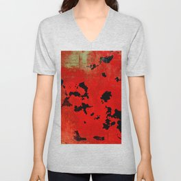 Red Modern Contemporary Abstract Textured Design Unisex V-Neck