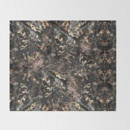 Gold Vein Black Marble Design Throw Blanket