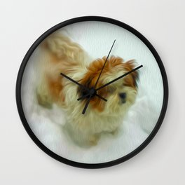 Chewy in snow Wall Clock