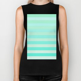 Green Teal Stripe Fade Biker Tank