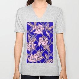 Royal Blue Rose Trellis Unisex V-Neck
