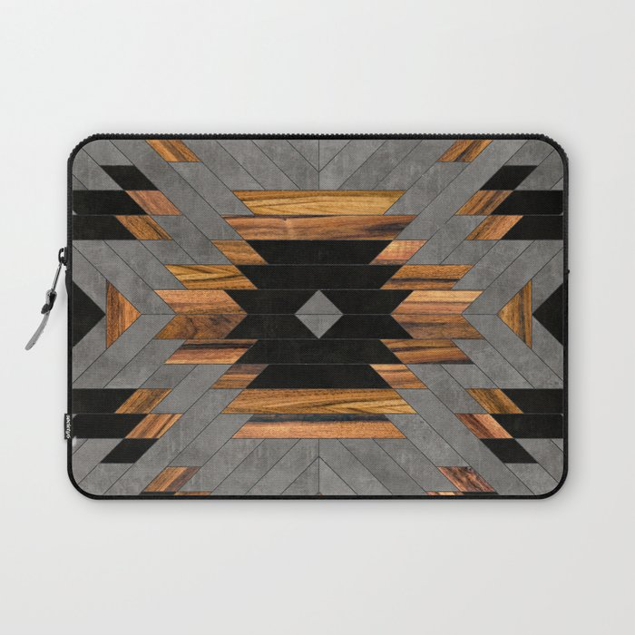 Urban Tribal Pattern No.6 - Aztec - Concrete and Wood Laptop Sleeve
