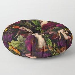 Antique Nymphs In Botanical Night Flower Garden  Floor Pillow