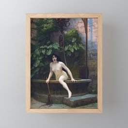 TRUTH COMING OUT OF HER WELL TO SHAME MANKIND - JEAN-LEON GEROME Framed Mini Art Print