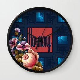 Peach Peonies in Blue Wall Clock