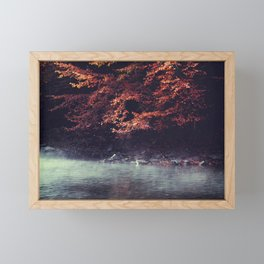 River Morning - Rising fog and tree in fall foliage at the river Framed Mini Art Print