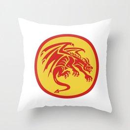 Dragon Gargoyle Crouching Circle Retro Throw Pillow