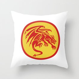 Dragon Gargoyle Crouching Circle Retro Throw Pillow