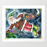 santa Art Prints featuring Santa by Shelley Ylst Art