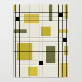 1950's Abstract Art Chartreuse Poster