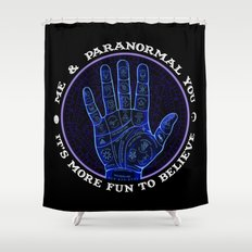 Me & Paranormal You - James Roper Design - Palmistry (white lettering) Shower Curtain