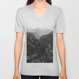 Between The Mountains (Black and White) Unisex V-Neck
