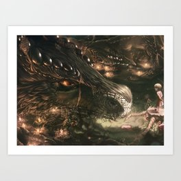 Little Girl and Her Dragon Art Print