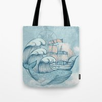 ship Tote Bags featuring Ship by De Assuncao création