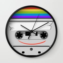 Freedom-Music everywhere-Love for all-Rainbow colors-Be Happy Wall Clock